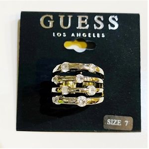 GUESS Silver Scattered Rhinestone Ring, Size 7